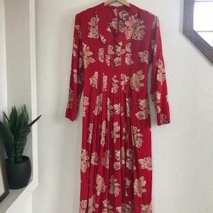 EJM Vintage Floral Long Sleeve Dress